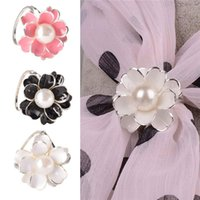 Wholesale lackingone hot sale brooches for women Chic Women s Scarf Ring Clip Buckle Jewelry Scarves Flower Buckle Holder