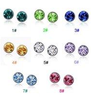 crystal earrings - High grade earrings Austrian Crystal inlaid dazzling stud earrings anti allergic jewelry LDE