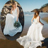 Cheap 2015 Beach Bohemia Wedding Dresses Deep V Neck Backless Boho Bridal Gowns with Lace Top Flowing Ivory Summer Chiffon Bride Dress