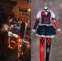batman dark knight suit - 2015 Batman Harley Quinn Cosplay Arkham Costumes Outfit Party Dress Dark Knight Suit Sexy Cosplay Dress For Helloween Carnival