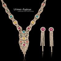 Wholesale Luxurious Party Jewelry Set Dress K Yellow Gold Plated Multicolor Austria Crystal Top Quality