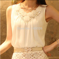 Cheap 2015 Summer Women Blouse Lace Vintage Sleeveless White Casual Blouses & Shirts Lady Tops Plus Size S-XXL