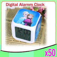 Wholesale DHL Frozen Alarm Clocks LED Change Digital Alarm Clock frozen Anna and Elsa Thermometer Night Colorful Glowing toys ZY NZ