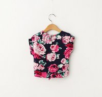 Wholesale 4 Colors Kids Girls Summer Cotton Floral Print Shirts Baby Girl Spring Jumper Blouse Babies Princess Tops children s clothing