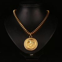lion charms - New Arrival Metal Gold Plated Lion face Round Pendant Charm Long Chain Necklace For Men Women Accessories Fine Hip Hop Jewelry Gift