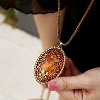 amber necklace for sale - Hot Vintage Amber Hollow Pendant Necklace Women Fashion Jewelry For Sale