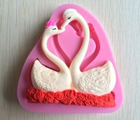 candle mold silicone - two pieces beautiful swan shape fondant D molds silicone mold candle moulds sugar craft tools chocolate moulds bake F089