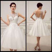 sexy mini wedding dress - Robe De Mariage Luxurious Elegant Satin and Lace Wedding Dress Tea Length Wedding Reception Dresses Vestido De Noiva