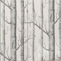 Wholesale Birch Tree pattern non woven woods wallpaper roll modern designer wallcovering simple black and white wallpaper for living room