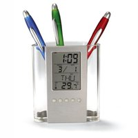 Wholesale Brief Fashion Multi function LCD Digital Office Home Pencil Holders Temperature Meter Calendar Gauge Clock Creative Penholder Desk Helpers