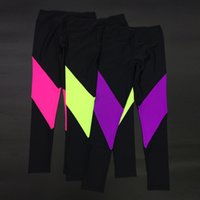 Wholesale Professional Jogging Trousers High Elastic Fluorescent Color Stitching Sports Pants Outdoor Jogging Yoga Slim Sports Trousers