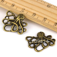 Wholesale X20mm Antique Bronze Plated Octopus Earring Charm Pendant Connector