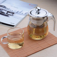 Wholesale New ml Drinkware Heat Resistant Glass Flower Tea Set Puer Kettle Coffee Teapot Convenient Office Teaset no include small cup T02