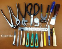 Wholesale LEATHER WORK COBBLER S TOOL SET Leather Tool Kit Pliers Skiving Awl Punch Cutter Scissors