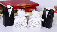 Wholesale 100Pcs Wedding Favor Candy Holder Box Bride Groom Dress hard paper board ribbon Tuxedo Three option Party w Ribbon Gift