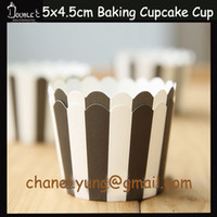 Wholesale 5x4 x50pcs Fancy Black Stripes Paper Cupcake Cups Muffin Case Whosales Party Cups Liner Party Decoration Disposable Tools