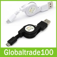 Wholesale Retractable Micro USB Cable Data Sync Charger Cables for Sumsang Blackberry HTC Free DHL