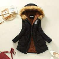 Cheap Wholesale-2015 Womens Thickening Long Military Parkas Winter Jacket Women Fur Coats Woman Clothes Warm Hooded Outwear Black Overcoat XXXL