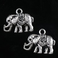 elephant charms - New MIC Antiqued Silver Single sided Elephant Alloy Metal Charms Pendants X19mm Jewelry DIY Jewelry Findings Components L1187