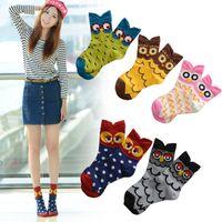 Wholesale Animal Pattern Socks New Korea kawaii Owl D Cartoon Socks Women Adult Socks socks Teenager Ankle Socks Cheap Socks