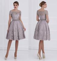 Wholesale 2015 Lace Knee Length Mother Of Bride Dresses Bateau Short Sleeves A line Mother Of Groom Dresses M010
