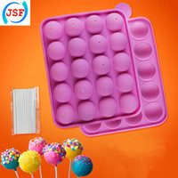 cake pop sticks - Pink Hot Selling Food Safety Silicone Cake Pop Molds Set With Free Sticks Baking Moulds JSF Silicone
