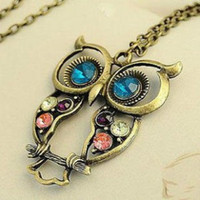 Wholesale 2015 New Fashion Hot Selling Retro Color Block Drill Hollowing Carved Cute Owl Mao Yilian Necklace Jewelry factory price XL139