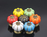 Wholesale 5pcs Furniture Drawer Handles Decorative Pumpkin Ceramic Door Cabinet Knobs Pull Cupboard Handle with Screw Mix Color