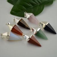 agate pyramid - 10Pcs Silver Plated Agate Opal Amethyst Quartz Unakite Gem stone Pyramid Healing Chakra Pendant Charm