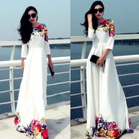 boho dress - 2015 Long Women Party Dresses White Floral Print Maxi Boho Beach Dress Plus Size Robe Casual Vestido Longo Ropa Mujer OXL15091402