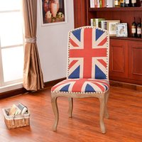 Wholesale Manufacturers custom tiger foot Union Jack American country wood chair
