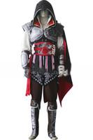 achat en gros de ezio costume-2015 Assassins Creed II 2 Ezio drapeau noir Cosplay Auditore da Firenze Black Costume cosplay édition faite sur mesure toute taille pour la fête de Noël