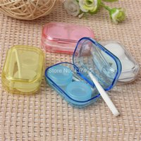 Wholesale 2014 New New Portable Mini Transparent Contact Lens Case Storage Box Holder Container