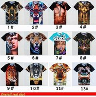 Wholesale 2014 Brand New Men s D stereo t shirt tide short sleeve t shirt slim fit loose tshirt hip hop beauty tiger leopard print funny Anime Lion