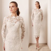 Wholesale Haute Couture Short Evening Dress Lace Long Sleeve Pearls Elegant Women Vestidos Noche Sheath New Arrival Ivory Prom Gowns E4224