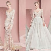 Wholesale Zuhair Murad Mermaid Wedding Dresses Sheer Scoop Neck Long Sleeves Wedding Gowns With Lace Applique Sequined Detachable Bridal Dresses