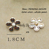 Cheap 50 pcs light golden flower metal pearl buttons, embellishments for wedding invitation,hair bows,scrapbooking