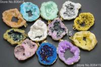 gold nugget - Natural Metallic Multi Colored Druzy Quartz Agate Geode Gems Stones Nugget Pendant Healing Reiki Necklaces Beads K Gold