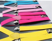 Wholesale Clip on Adjustable Braces Candy Unisex Pants Y back elastic Suspender Braces colors