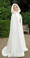hooded cloak - Abaya Winter White Wedding Cloak Cape Hooded with Fur Trim Long Bridal Jacket