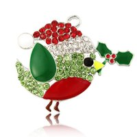 necklace chunky bead - 39 mm Christmas Bird Red Green Santa Hat Mistletoe Holly Rhinestone Pendant Chunky Necklace Beads