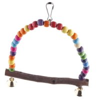 Wholesale Colorful Hot Wooden Bird Parrot Swing Toys Parakeet Cockatiel Budgie Cage Hanging