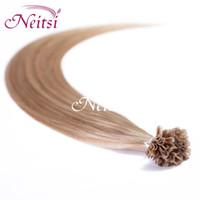 Cambodian hair u tip hair extensions - 18inch Keratin Glue Nail Hair P14 Piano Color Pre Bonded Hair U Tip Hair Extension Nails Tips Hair Remy Human Hair Extensions