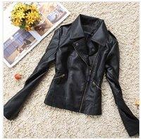 Precio de Leather jackets-2016 primavera Nueva Moda Negro solapa motocicleta guapo chaqueta de cuero Escudo Mujeres corto delgado de señora PU PBZ016