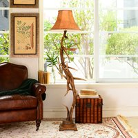 antler floor lamp - American country retro luxury living room lamps study Ante Li resin antlers predetermined floor lamp