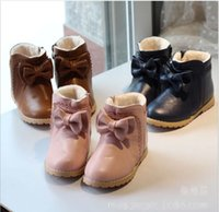 Wholesale 2014 Winter New Baby Childs Warm Snowboots Infant Baby Leather Fur Shoes Children Gilrs Shoes Kids Prewalker Boots Pink Brown Black K1541