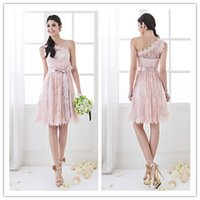 Wholesale In Stock Hot Sexy Party Dresses One shoulder Lace Bow Sleeveless Zipper Knee length Homecoming Dresses Support For Custom Need Days