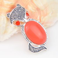 fire fox - 5 Pieces Holiday Gift Antique Fire Red Turquoise Quartz Sterling Silver Fox Pendants Russia American Australia Wedding Necklace Pendants
