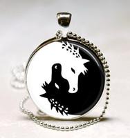 animal charm art - Horse Necklace Yin Yang Jewelry Black and White Animal Art Pendant