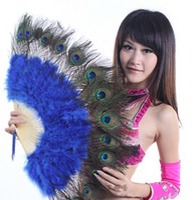 Wholesale Stage Performance Prop Belly Dance Feather Fan Peacock Feather Fan Belly Dance Accessories Peacock Fan Dance